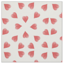 Watercolor Hearts On White, Tossed Print Fabric