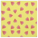 Watercolor Hearts On Yellow, Tossed Print Fabric