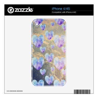 Watercolor Hearts Pattern and Clouds iPhone 4S Decal