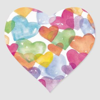 Watercolor Hearts Stickers