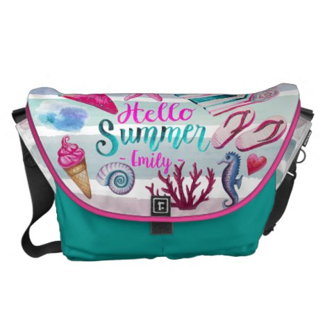 Watercolor Hello Summer Monogram Beach Stripes Courier Bag