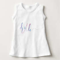 Watercolor Hello Text on a Baby Sleeveless Dress