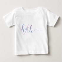 Watercolor Hello Text on a Baby T-shirt