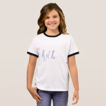 Watercolor Hello Text on a Kids T-shirt