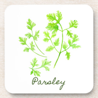 Watercolor Herb Parsley Illustration Drink Coaster