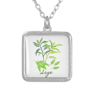 Watercolor herb sage illustration silver plated necklace
