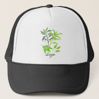 Watercolor herb sage illustration trucker hat