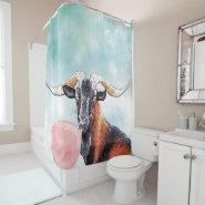 Watercolor Herd Sire Goat Blows Bubblegum Bubble Shower Curtain