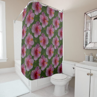 Watercolor Hibiscus Flowers Shower Curtain