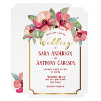 Watercolor Hibiscus Gold Foil Tropical Wedding Invitation