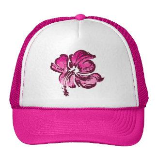 Watercolor Hibiscus Hawaiian Floral Trucker Hat