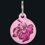 """Watercolor Hibiscus Hawaiian Tropical Pet ID Tag<br><div class=""""desc"""">Inspired by the boardshorts and aloha shirts of the fifties and sixties,  these hand-painted watercolor hibiscus flowers are combined with watercolor painted stripes. These designs come in several colorways.</div>"""