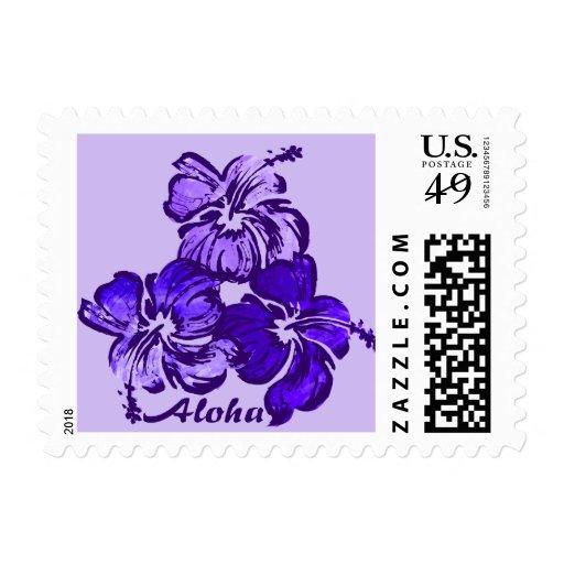 Watercolor Hibiscus Hawaiian Tropical Postage Stamps