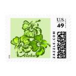 Watercolor Hibiscus Hawaiian Tropical Stamp