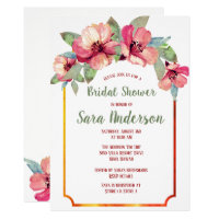 Watercolor Hibiscus Luau Party Bridal Shower Invitation