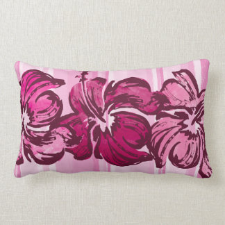 Watercolor Hibiscus Reversible Lumbar Pillow