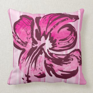 Watercolor Hibiscus Reversible Square Pillow throwpillow