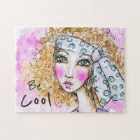 Watercolor Hippie Boho Girl Whimsical Art Colorful Jigsaw Puzzle