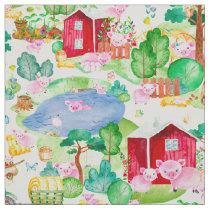 Watercolor Hog Wild Farm Pig Barn Fabric