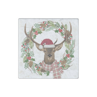 Watercolor holiday wreath with deer head stone magnet