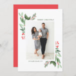 """Watercolor Hollies and Greenery Merry Chrismas Holiday Card<br><div class=""""desc"""">Merry Christmas! Send holiday greetings to family and friends with this customizable watercolor Christmas flat card. It features watercolor illustrations of hollies and greenery borders. Personalize by adding a photo and texts. Matching items are available.</div>"""