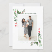 Watercolor Hollies and Greenery Merry Chrismas Holiday Card