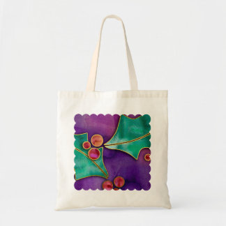 Watercolor Holly Berries Purple Green Red Holiday Budget Tote Bag