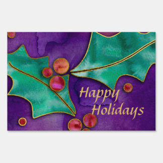 Watercolor Holly Berries Purple Green Red Holiday Lawn Sign