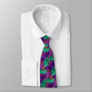 Watercolor Holly Berries Purple Green Red Holiday Neck Tie