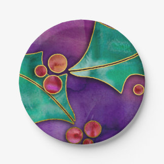 Watercolor Holly Berries Purple Green Red Holiday Paper Plate