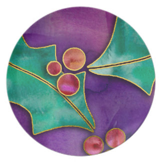 Watercolor Holly Berries Purple Green Red Holiday Plate