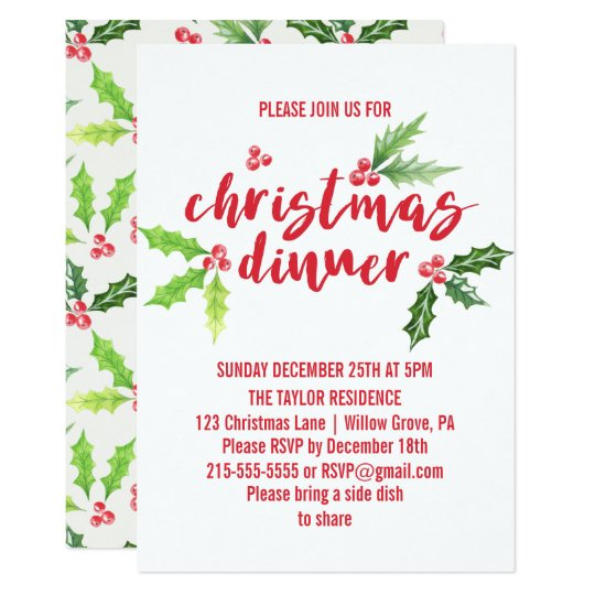 Watercolor Holly Christmas Dinner Invitation