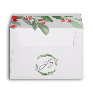 Watercolor Holly Christmas Envelope