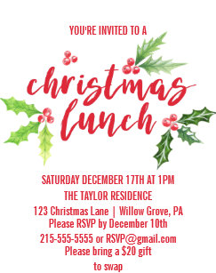 lunch christmas invitations zazzle