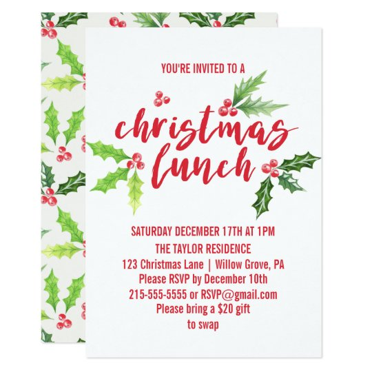 Watercolor Holly Christmas Lunch Invitation