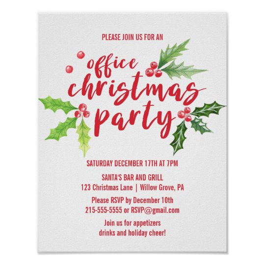 Christmas Party Poster.Watercolor Holly Company Christmas Party Invite Poster