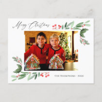 Watercolor Holly Jolly Christmas Photo Announcement Postcard