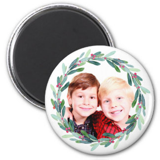Watercolor Holly Jolly Christmas Photo Magnet