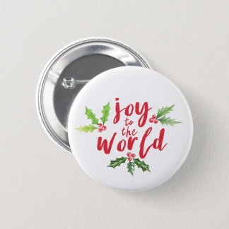 Watercolor Holly Joy to the World Christmas Button