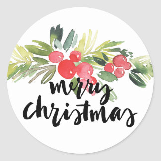Watercolor Holly Merry Christmas Sticker