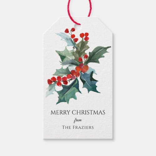 Watercolor Holly Sprig Merry Christmas Gift Tags