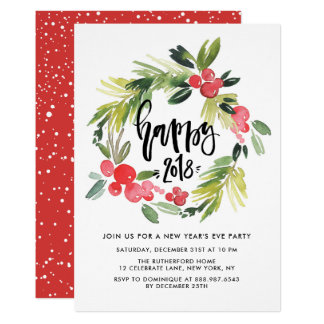 Watercolor Holly Wreath 2018 New Year's Eve Party Card