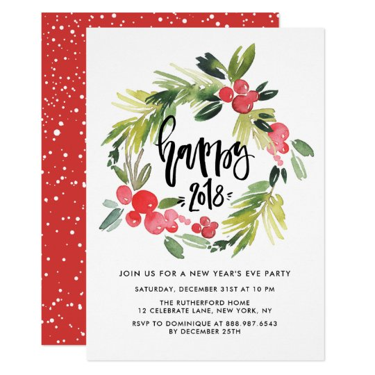 Watercolor Holly Wreath 2018 New Year S Eve Party Invitation