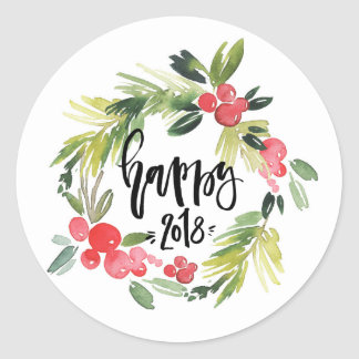 Watercolor Holly Wreath Happy New Year 2018 Classic Round Sticker