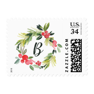 Watercolor Holly Wreath Holiday Monogram Stamp