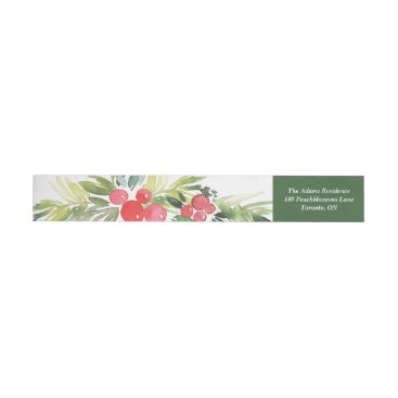 Christmas Themed Watercolor Holly Wreath Merry Christmas Address Wrap Around Label