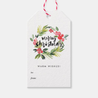 Watercolor Holly Wreath Merry Christmas Gift Tags