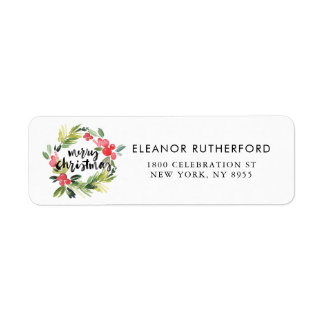 Watercolor Holly Wreath Merry Christmas Label