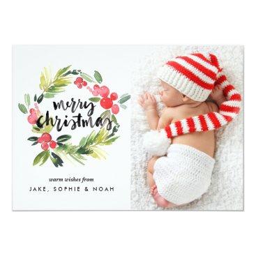 Christmas Themed Watercolor Holly Wreath Merry Christmas Photo Card