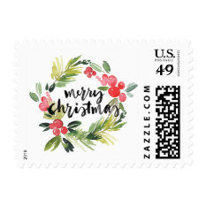 Watercolor Holly Wreath Merry Christmas Stamp at Zazzle